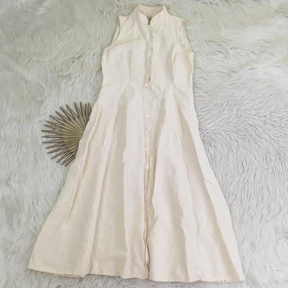 7eb7fa06ff Banana Republic Dresses   Skirts - VTG Banana Republic Ivory Linen Blend  Midi Dress